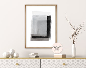 Grey Abstract Art, Oversized Wall Art, Minimalist Art Print, Printable Painting, Lounge Painting, Modern Art Print, Mixed Media Art