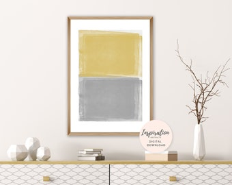 Yellow and Grey Painting, Minimal Watercolour Print, Abstract Painting, Oversized Wall Art, Printable Painting, Lounge Painting