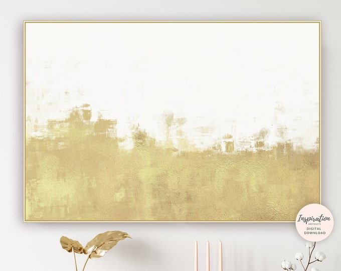 Minimalist Painting, White Gold Painting, Printable Art, Modern Wall Art, Abstract Wall Art, Living Room Decor, Luxury Wall Art