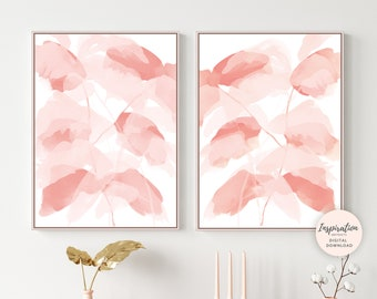 Blush Pink Wall Art, Abstract Leaf Prints, Set of 2 Prints, Leaf Posters, Botanical Wall Art, Watercolour Print, Modern Art, Printable Art