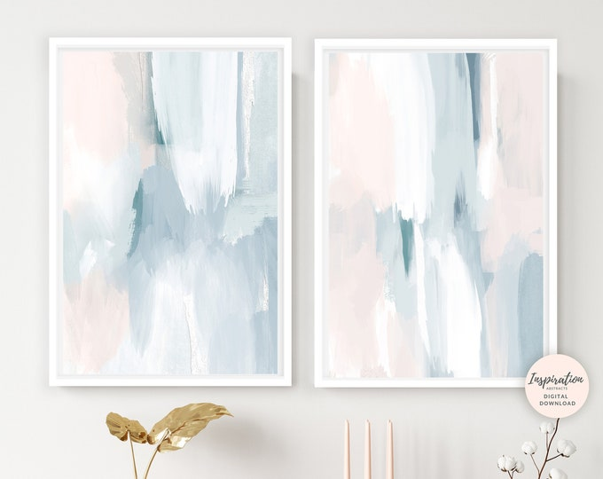Featured listing image: Printable Art, Set of 2 Prints, Calming Wall Art, Large Modern Art, Acrylic Paintings, Neutral Wall Art, Nursery Decor, Living Room Art