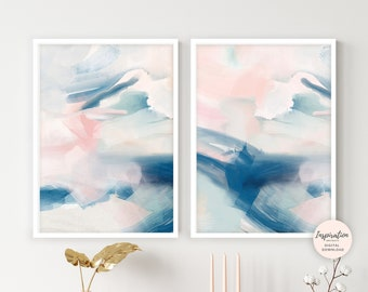 Set of Two Abstract Paintings, Pink Navy Wall Art, Mixed Media Art, Printable Art, Acrylic Paintings, Nursery Decor, Living Room Art