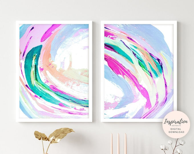 Lilac Wall Art, Nursery Art, Colourful Paintings, Printable Art, Abstract Art, Set of Two Prints, 18x24 Art Prints, Abstract Nursery Art