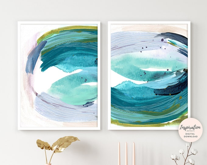Set of Two Abstract Paintings, Mixed Media Art, Teal Wall Art, Printable Art, 18x24 Art Prints,  Digital Prints, Modern Art