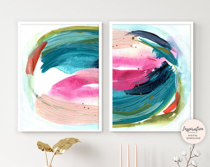 Colourful Abstract Paintings, Set of Two Prints, Printable Art, Digital Prints, 18x24 Art Prints, Mixed Media Art, Modern Art