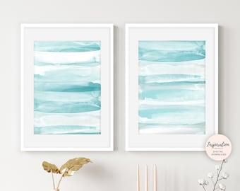 Aqua Wall Art, Set of 2 Prints, Calming Wall Art, Beach House Art, Printable Art, Nursery Wall Art, Modern Art, Watercolour Paintings