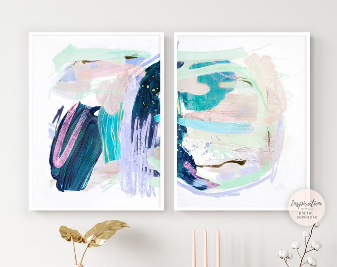 Set of Two Abstract Paintings, Pastel Wall Art, Nursery Decor, Colourful Wall Art, Printable Art, 18x24 Art Prints, Modern Wall Art