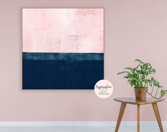 Pink and Navy Abstract Art, Large Abstract Print, Extra Large Painting, Bedroom Decor, Acrylic Painting, Printable Art, Digital Download