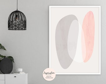 Pink and Grey Wall Art, Large Minimalist Art, Simple Art Print, Mid Century Modern, Vertical Wall Art, Oversized Wall Art
