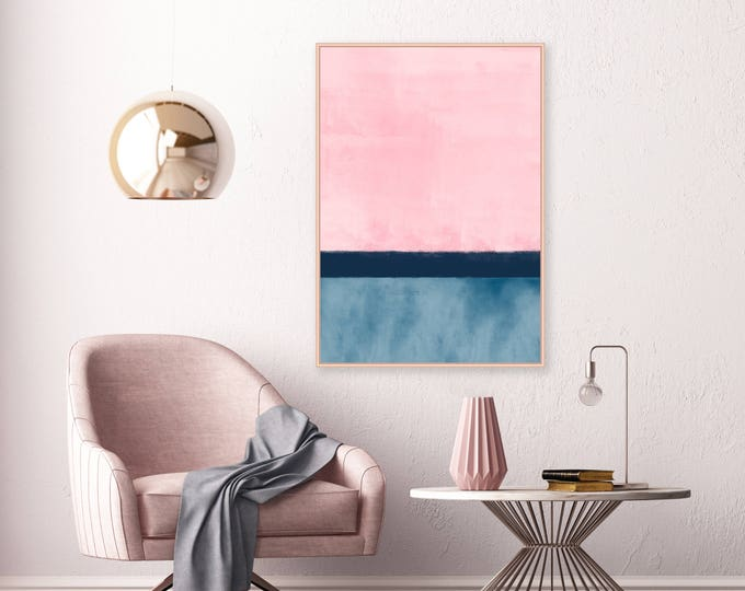 Pink and Navy Abstract Art, Downloadable Print, Abstract Painting, A1 Poster Size Wall Art, Printable Modern Art, Extra Large Print