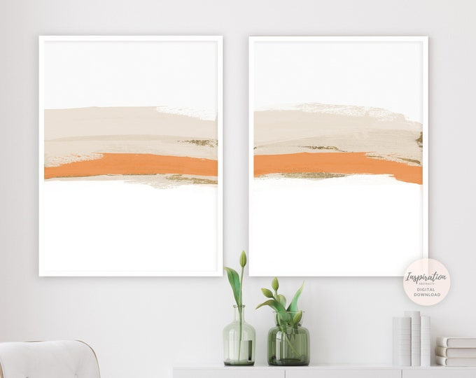 Modern Art Print Set, Minimalist Art, Bright Abstract Art, Printable Wall Art, Set of 2 Prints, Living Room Decor, Minimalist Print Set