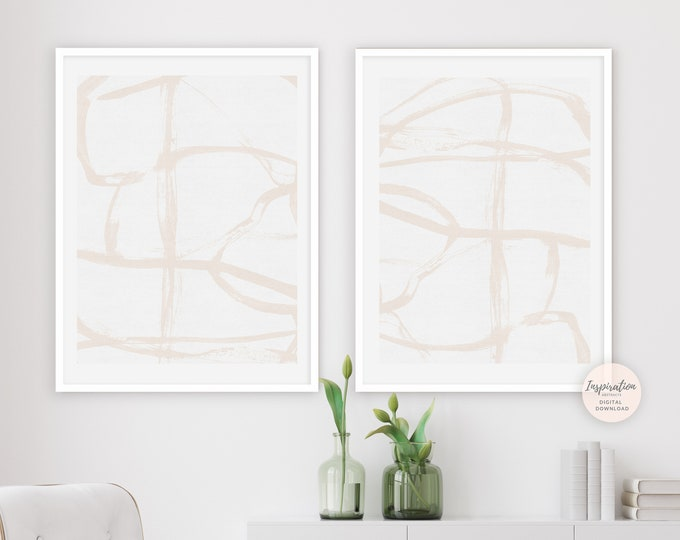 Modern Art Print Set, Printable Art, Set of 2 Prints, Zen Wall Art, Abstract Art, Living Room Decor, Minimal Print Set, Large Wall Art