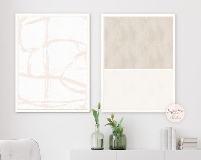 Set of 2 Minimal Abstract Paintings, Printable Art, Minimalist Wall Art Zen Wall Art, Abstract Art, Living Room Art, Large Wall Art