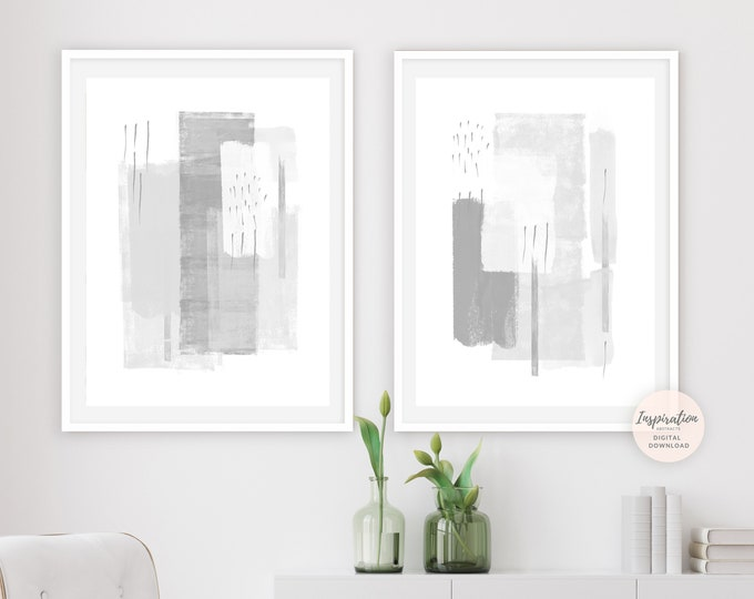 Minimal Abstract Art, Set of Two Prints, Grey White Wall Art, Minimalist Paintings, Feature Wall Art, Modern Wall Art, Large Abstract Art