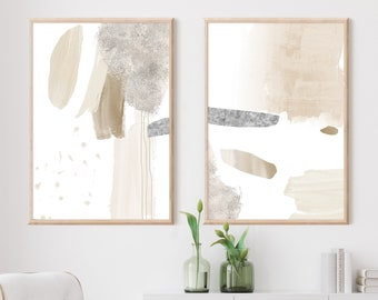 Set Of Two Minimal Abstract Paintings, Neutral Tone Prints, Minimalist Print Set, Printable Wall Art, Large Wall Art