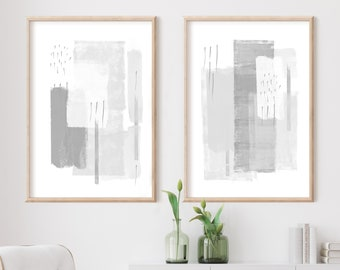 Large Minimal Art, Grey White Wall Art,  Abstract Art, Set of Two Prints, Minimalist Paintings, Gallery Wall Set, Modern Wall Art