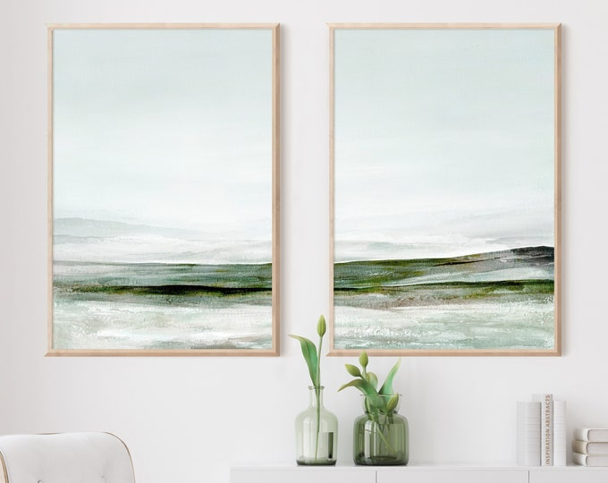 Set Of Two Abstract Landscape Paintings, Zen Wall Art, Minimalist Art, Printable Art, Large Wall Art, Lake House Decor