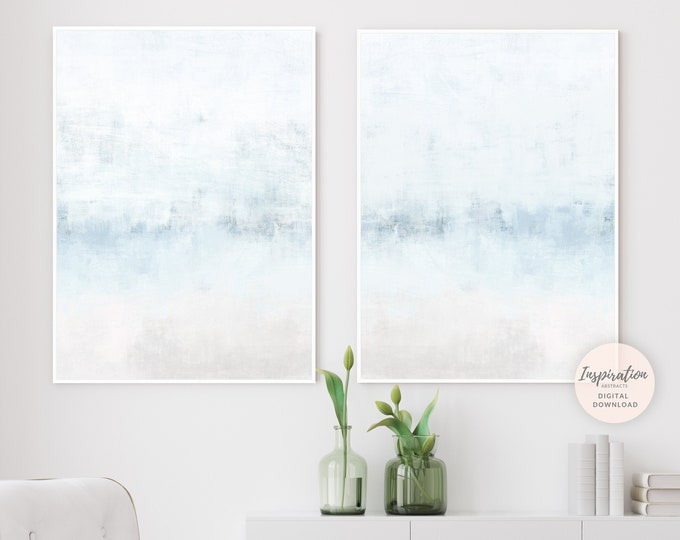 Calming Abstract Paintings, Set of Two Prints, Minimal Paintings, Printable Art, Zen Wall Art, Large Abstract Art, Coastal Wall Art Set