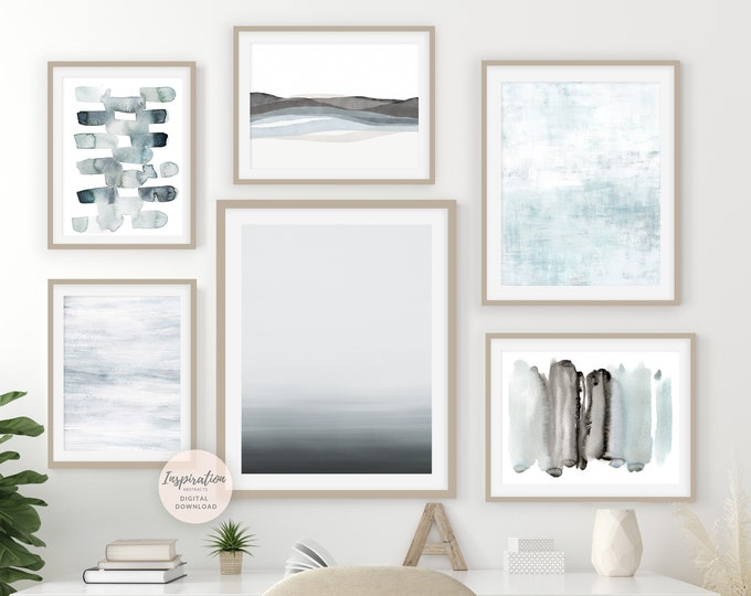 Coastal Wall Art Set, Gallery Wall Set, Watercolour Prints, Abstract Art, Printable Art, Minimalist Art, Set of 6 Art Prints, Serene Art