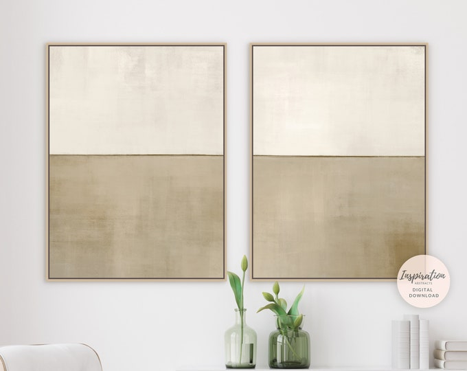 Set of Two Neutral Abstract Paintings, Printable Wall Art, Minimalist Print Set, Living Room Art, Large Wall Art, Rothko Inspired