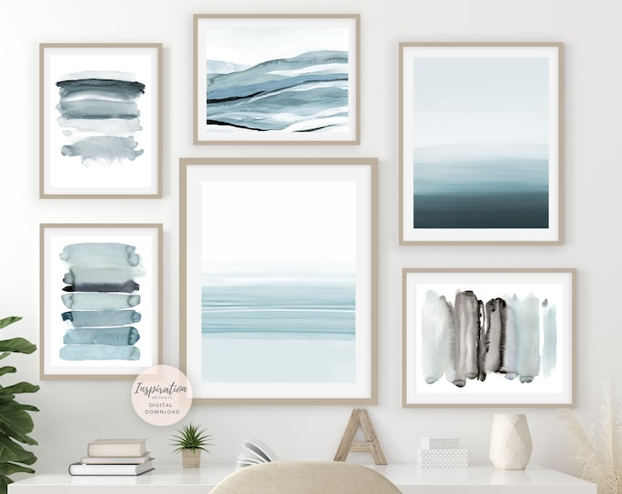 Gallery Wall Set, Watercolour Prints, Coastal Wall Art Set,Abstract Art, Printable Art, Minimalist Art, Set of 6 Art Prints, Zen Wall Art