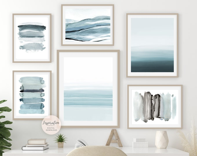 Gallery Wall Set, Coastal Wall Art Set, Watercolour Prints, Abstract Art, Printable Art, Minimalist Art, Set of 6 Art Prints, Zen Wall Art