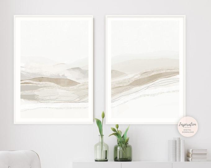 Set of 2 Landscape Paintings, Printable Art, Large Minimalist Paintings, Simple Wall Art, Abstract Art, Minimalist Wall Art, Living Room Art
