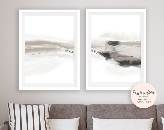 Set of 2 Art Prints, Neutral Paintings, 24x36 Art Prints, Lounge Paintings, Diptych Wall Art, 50x70 Posters, Oversized Wall Art