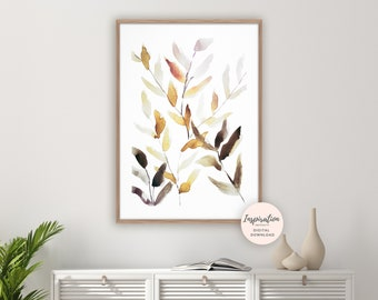 Abstract Leaves Print, Watercolour Print, Plant Prints, Neutral Decor, Botanical Print, Modern Art, Minimal Art, Printable Art, Leaf Poster