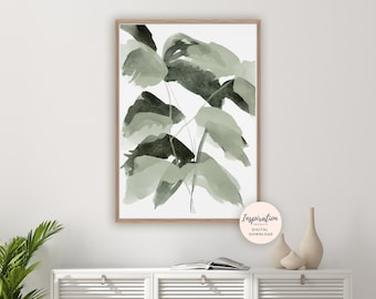 Abstract Leaves Print, Greenery Art, Botanical Poster, Watercolour Painting, Modern Art, Printable Art, Leaves Painting, Green Wall Art