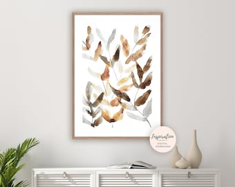 Watercolour Leaves Print, Watercolour Painting, Plant Prints, Botanical Print, Modern Art, Minimal Art, Printable Art, Neutral Decor