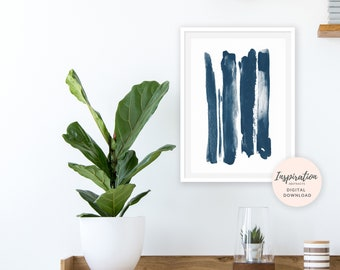 Navy Blue Brush Strokes Print, Scandinavian Print, Oversized Wall Art, Printable Abstract Art, Beach House Art