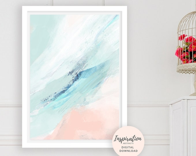 Calming Abstract Art, Printable Abstract Painting, Pink and Mint Art, Printable Wall Art, Nursery Decor, Acrylic Painting