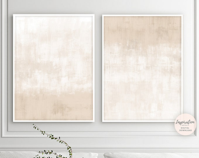 Minimalist Print Set, Zen Wall Art, Set Of 2 Prints, Beige And White Abstract Art, Printable Art, Large Wall Art, Minimal Aesthetic