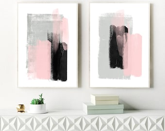 A Set of Two Large Pink and Grey Paintings, 2 Printable Minimalist Artworks