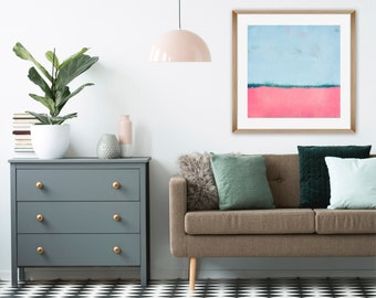Pink and Blue Abstract Art, Colourful Modern Art Print, Living Room Decor, Printable Minimalist Art, Downloadable Art, Nursery Wall Art