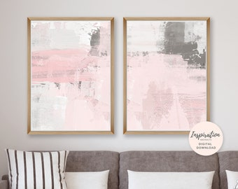 Pink Grey Wall Art, Pink and Grey Abstract Art, Set of 2 Art Prints, 50x70 Art Prints, Nursery Decor, Oversized Wall Art