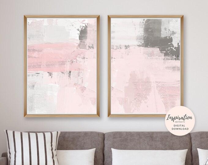 Pink Grey Wall Art, Pink and Grey Abstract Art, Set of 2 Art Prints, 50x70 Art Prints, Nursery Decor, Oversized Wall Art