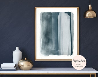 Minimal Abstract Art, Inky Blue Wall Art, 16x20 Art Print, Printable Abstract Art, Mixed Media Art, Watercolor and Acrylic Art