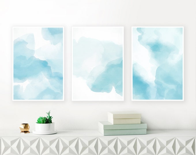 Blue Watercolour Paintings, Blue Abstract Art, Large Gallery Wall Prints, Set of 3 Prints