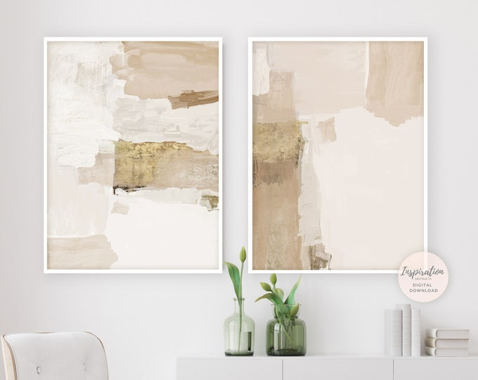 Set Of 2 Modern Abstract Paintings with Beige and Gold Tones, Minimalist Art, Printable Art, Living Room Decor, Zen Wall Art