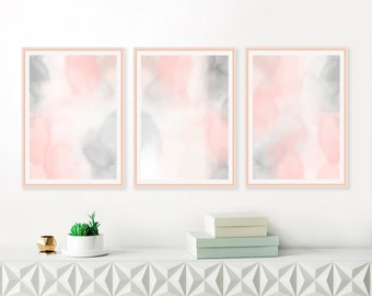 Printable Blush Pink and Grey Watercolour Paintings, Baby Girls Nursery Art, Blush Pink and Grey Abstract Art, Large Gallery Wall Prints