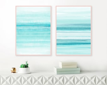 Teal and White Art Prints, Set of 2 Large 24x36 Art Prints, Calming Downloadable Paintings