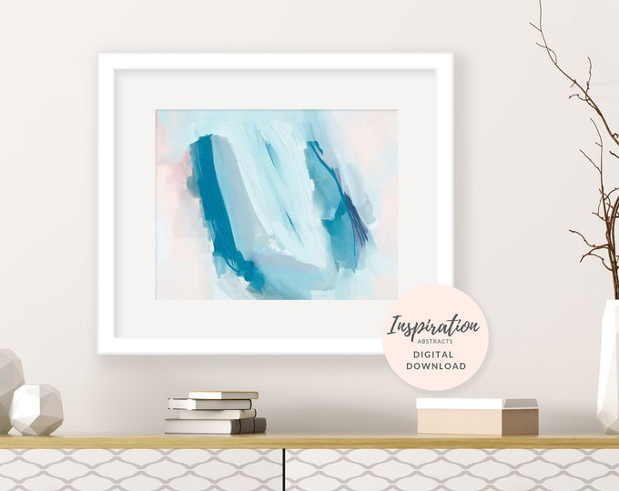 Printable Abstract Art, 16x20 Art Print, Blue and Pink Acrylic Painting, Mixed Media Art, Digital Download, Nursery Decor