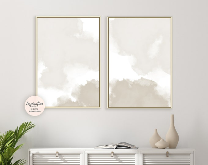 Beige And White Watercolour Prints, Minimal Painting, Set of 2 Prints, Minimalist Print Set, Printable Art, Large Art, Office Art