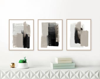 Gallery Wall Art, Set of 3 Taupe, Grey and Black Acrylic Paintings