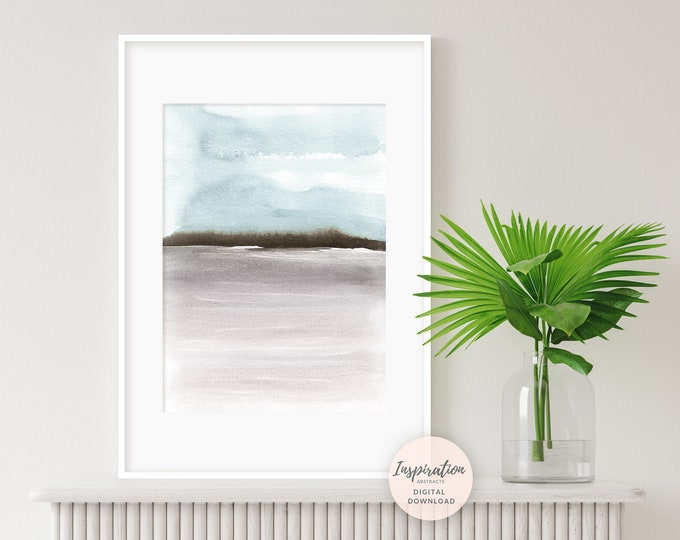 Abstract Landscape Painting, Blue Grey Watercolour Print, Printable Art, Minimalist Print, Large Wall Art, Abstract Art
