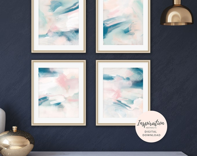 Abstract Paintings, Set of 4 Prints, Nursery Decor, Gallery Wall Prints, Affordable Art, Mixed Media Art, Printable Art Set