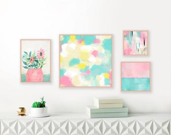 Gallery Wall Art, Set of 4 Abstract Art Prints, Pastel Paintings, Nursery Art, Contemporary Decor, Modern Wall Art