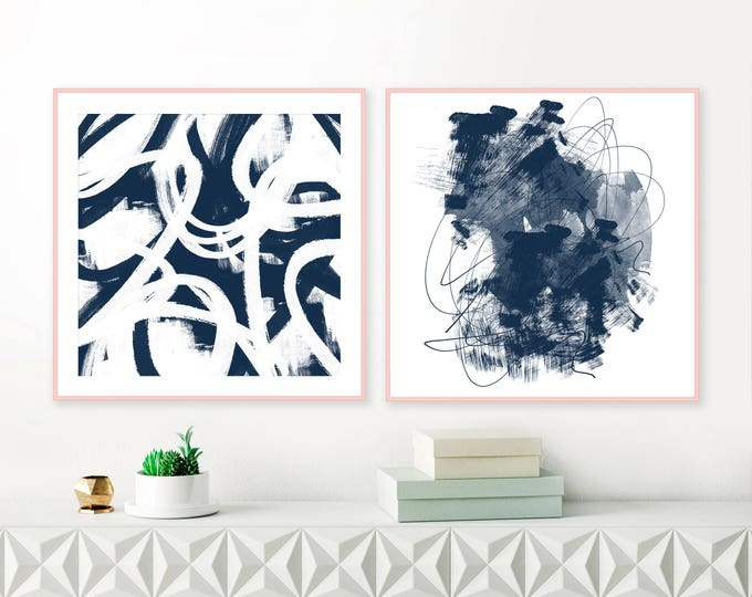 Navy Wall Art, Set of 2 Paintings, Abstract Art, Square Art Prints, Modern Wall Art, Diptych Wall Art, Contemporary Art
